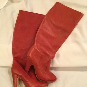 Aldo Red Leather Tall Boots Sz 7